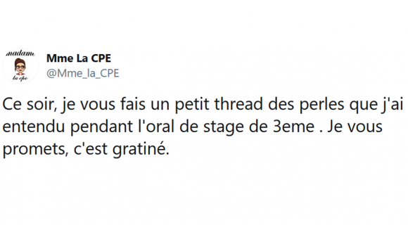 Image de couverture de l'article : Thread : Les perles de l'oral de stage de 3èmes !